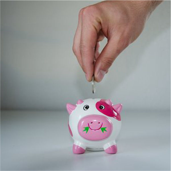 Hand dropping coin in piggy bank signifies a renter saving money, rent includes utilities at Fairview Apartments St. Peter, MN